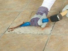 How to Easily Replace a Broken Floor Tile | Learn how to easily replace a broken floor tile! Floor tiles can crack due to wear and tear, or through damage if a heavy object is dropped on them. Replacing a single tile is more cost-effective than retiling an entire floor. Wear goggles while drilling into the tile, in case any shards fly toward you, and wear gloves to protect your hands.