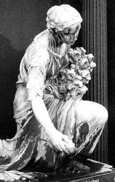 Cemetery Statuary: Kneeling Woman, marble