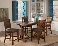 Austin Walnut Dining Room Collection - Value City Furniture Value City Furniture, Dining Room Furniture, Dining Room Table, Furniture Design, Counter Height Table Sets, 5 Piece Dining Set, Affordable Furniture, Living Room, Home Decor