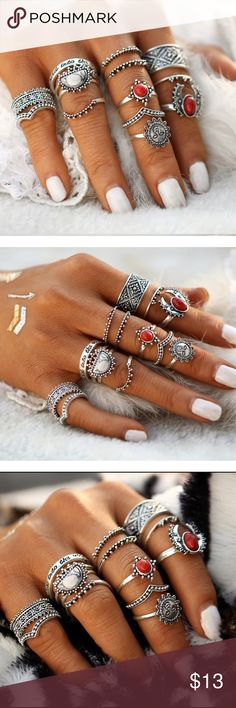 Host Pick 14pcs Silver Toned Midi Ring Set 14pcs Silver Toned Moon And Sun Midi Ring Set   Host Pick : Best in Boutiques ▪️Material(s): zinc alloy  ▪️Size: See image for individual ring sizes ▪️Condition: New Jewelry Rings