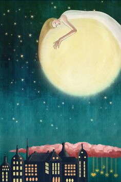 I love this type of whimsical illustration, especially moon-related. Sun Moon Stars, Sun And Stars, You Are My Moon, Good Night Moon, Night Night, Moon Magic, Beautiful Moon, Billie Holiday, Over The Moon