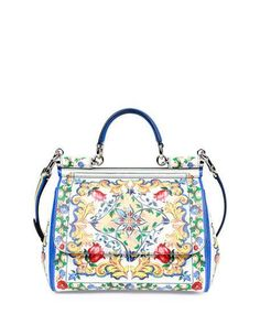 Dolce   Gabbana Miss Sicily Large Lemon-Print Satchel Bag, Yellow White f124f7324e