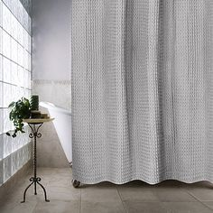 The Priya Shower Curtain Puts A Modern Twist On Classic Ogee