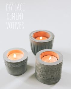 34 Cool and Modern DIY Concrete Projects lace cement votives Concrete Crafts, Concrete Projects, Diy Candle Holders, Diy Candles, Lace Candles, Cool Diy, Easy Diy, Fun Diy, Simple Diy