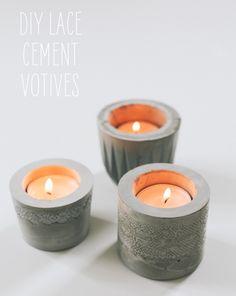 Cute idea of using lace as texture for cement votive [http://sayyestohoboken.com/2012/06/diy-laced-cement-votive.html]