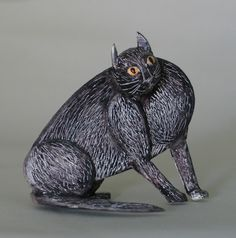 Fine Art Miniatures by Natasha, featuring shadow boxes, miniature paintings, painted sculptures, and dollhouse scale decorated period furniture. Fat Cats, Sculpting, Garden Sculpture, Dog Cat, Kittens, Sculptures, Miniatures, Fine Art, Bird