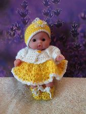 """Handmade Crocheted Clothes for 5"""" Berenguer/Itty Bitty Baby Doll Sunny Yellow"""