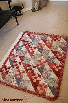"""Country Charm"" @"" Country Inn "" by BBD Fabrics: ""Rural Jardin"" line by  FG Block size: 6"" finish Quilt Size: 42"" x 54""  It's basted for q..."