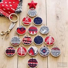 Create cozy DIY tree decorations - Simply place a small piece of a holiday sweater in a embroidery hoop, tighten the hoop, and trim the swatch to fit accordingly. Hang these mini ornaments with strands of ribbon. Easy Christmas Ornaments, Homemade Ornaments, Noel Christmas, Christmas Projects, Simple Christmas, Handmade Christmas, Holiday Crafts, Christmas Sweaters, Christmas Decorations