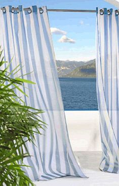 """The Escape Stripe Sheer Grommet Curtain Panel gives your indoor or outdoor space a sense of airiness and beauty. Striped, polyester """"treated"""" voile, indoor/outdoor curtain panel is water-repellent and fade- and mildew-resistant. Voile Panels, Sheer Curtain Panels, Grommet Curtains, Window Panels, Drapes Curtains, Stripe Curtains, Window View, Outdoor Curtains, Outdoor Rooms"""