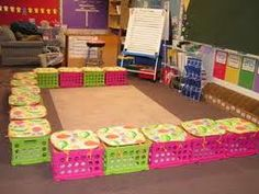 "A friend did this in her classroom, and I ""copycat-ed"". Helps the little ones keep from sprawling on the rug, focuses attention, and provides more storage space... and who doesn't need that?"