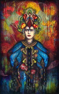 Frida Kahlo Mixed Media Canvas ©Andrea Matus deMeng #andreamatus #mixedmedia #collage