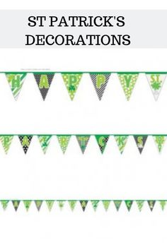 Happy St Patricks Day Plastic Celebration Flag Banner With Shamrock Detail. This Green And White Flag Banner Is Long. Green And White Flag, Party Supplies Uk, Diy Party, Party Ideas, Artificial Garland, Balloons And More, Fun Diy Crafts, Happy St Patricks Day, Wedding Balloons