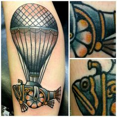 steampunk airship airballoon tattoo on my  leg done by  & photo by hexapdc http://www.hexa666.com/