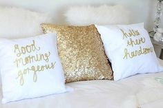 Gold bedroom his and her pillows White Bedroom, Dream Bedroom, Master Bedroom, Gold Bedroom Decor, My New Room, My Room, Dorm Room, Cute Pillows, Throw Pillows