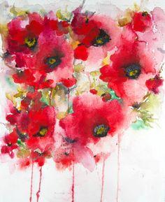 "Saatchi Art Artist: Karin Johannesson; Watercolor 2014 Painting ""Poppies en masse VII"""