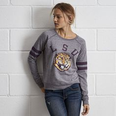Tailgate LSU Crewneck Sweatshirt (€54) ❤ liked on Polyvore featuring tops, hoodies, sweatshirts, grey, raglan sleeve sweatshirt, raglan sweatshirt, graphic sweatshirts, stripe top and grey sweatshirt