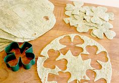 Shamrock Chips:  Use Spinach Tortilla Wraps. Once you have enough cut out to fill a cookie sheet, spray the tops of them with some cooking oil, sprinkle a little kosher salt on top, and bake them in a 375 degree oven for approximately 6 minutes.