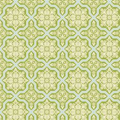 Joel Dewberry - Heirloom - Tile Flourish in Green Manufacturer: Westminster / Free Spirit (JD49Green) Designer: Joel Dewberry Collection: Heirloom Print Name: Tile Flourish in Green   Weight / Material / Width: Quilting, Cotton, 44/45 inches Horizontal repeat: 9.5 inches   designs are 4.5in. long