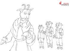 Imagini pentru capra cu trei iezi de colorat