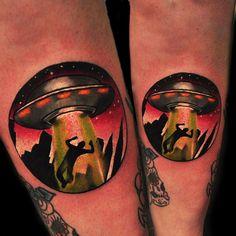 UFO tattoo by Gordon Patterson