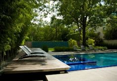 Pool Designs   swimming pool terrace with lounge chair design in house in the garden