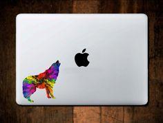 Colorful Wolf Sticker, Macbook Pro Sticker, laptop Sticker, Laptop Skin, Computer Decal, accessory by NebraskaVinyl on Etsy