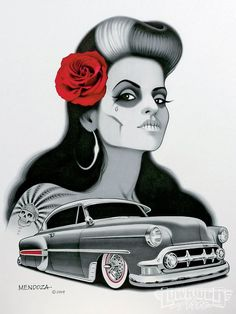 "alamaquina: ""Arte de Julian Mendoza It's about damn time I've made a photoset out of these works! Mendoza is just…… amazingly brilliant. *sigh* I wish I was an artistic genius como este vato, jaja. Chicano Love, Chicano Art, Car Tattoos, Badass Tattoos, Mendoza, Day Of The Dead Drawing, Arte Cholo, Aztecas Art, Lowrider Art"