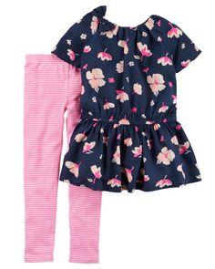 Kid Girl 2-Piece Poplin Top & Striped Legging Set | Carters.com