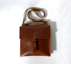 Satchel in Deep Tan vegetable tanned leather by ArcOfADiver, $210.00