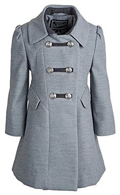 Rothschild Girls Grey Dress Coat Washable Wool Military Style Inspired