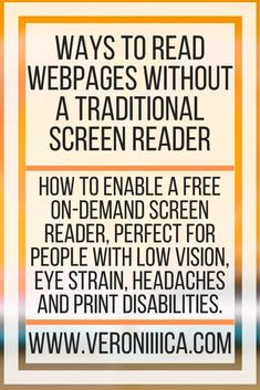 Ways to Read Webpages Without A Traditional Screen Reader. How to enable a free on-demand screen reader, perfect for people with low vision, eye strain, headaches and print disabilities. Assistive Technology, Educational Technology, Chronic Migraines, Chronic Illness, 504 Plan, College Survival Guide, Core Curriculum, Eye Strain, College Hacks