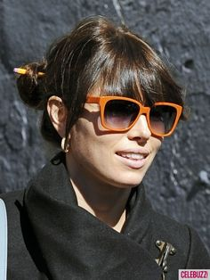 Fab Jessica with orange sunglasses.