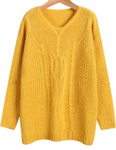 Yellow V Neck Long Sleeve Cable Knit Sweater - Sheinside.com