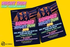 Night Run Event Flyer & Poster by Rooms Design Shop on @creativemarket