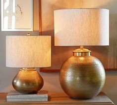 """Nori Brass Hammered Table Lamp Bases #potterybarn 