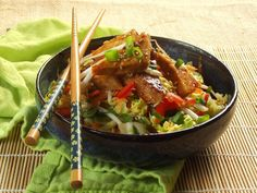 Sweet and sour Asian slaw topped with crispy pan-fried tofu in sticky-sweet ginger sauce.