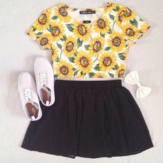 Cute Outfits: Classic black skirt outfit idea for spring Teen Fashion, Love Fashion, Fashion Outfits, Womens Fashion, Fashion Black, Cheap Fashion, Skirt Fashion, Fashion Clothes, Spring Fashion