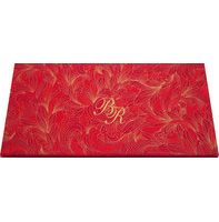 Beautiful invitation card is made from rich color satin cloth of fine quality. Card front is covered with designer imprints, and initials in the middle in laser cut to make it more attractive.