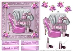 What A Girl Wants 4 on Craftsuprint designed by June Harrop - Great card for ladies, young and old, that love make-up and fashion. - Now available for download!