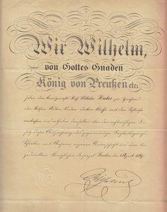 1867 WILHELM KÖNIG von PREUSSEN eigenh.Unterschr.ORDENSDEKRET