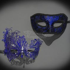 His & Hers Masquerade Mask Set Royal Blue Masquerade by 4everstore