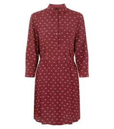 Red Abstract Print 3/4 Sleeve Shirt Dress
