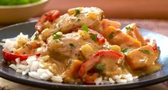 Coconut-Almond Chicken Stew with Cilantro: The traditional African ground nut stew gets a Southeast Asian accent from coconut milk, red chili paste, almond butter and cilantro.