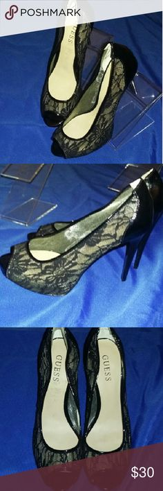 TODAYS SALE FIRM  Guess Lace Heels size 9.5 Black patent leather open toe lace high-heeled shoes by guess in a size 9.5. These are used shoes they have been cleaned thoroughly very minimal wear I find no defects at all. Beautiful beautiful pair of shoes let me know if you have any questions. Guess Shoes Heels