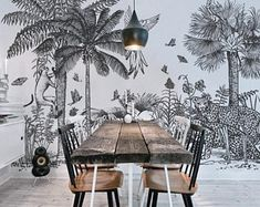 Safari Removable Wallpaper, Peel and stick tropical wall mural, Black and white wall art, Repositionable wallpaper, Safari, Jungle  #52