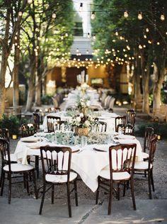 String Light Courtyard Reception in Dallas