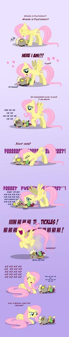 #57485 - age regression, artist:anima-dos, baby discord, discord, fluttershy, peekaboo, raspberry, safe, tickling, tummy buzz - Derpibooru - My Little Pony: Friendship is Magic Imageboard
