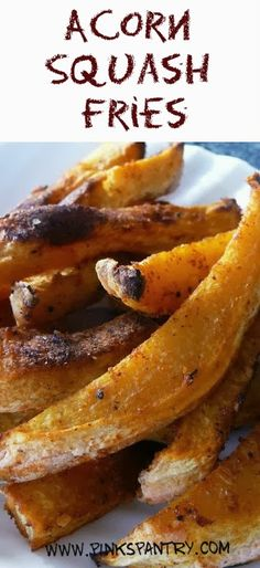 Acorn Squash (Fries/Slices/Chunks): 375 degrees w/ convection on, for 35-40 mins -- keep checking throughout. Used coconut oil + parchment on cookie sheet.
