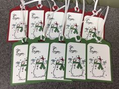 "Set of 10 Stampin' Up! Christmas Gift Tags 2"" X 3 1/2"" Snowman by CheleMarieCreations on Etsy https://www.etsy.com/listing/245158495/set-of-10-stampin-up-christmas-gift-tags"